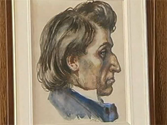 "Портрет Фредерика Шопена, висевший в Освенциме. Кадр телеканала ""Интер"""