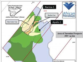 Схема месторождений из доклада African Petroleum