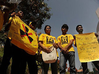 Акция протеста против строительства АЭС в Индии. Фото ©AFP