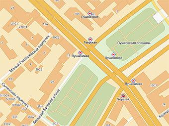 """Пушкинская площадь. Изображение из сервиса """"Яндекс.Карты"""""""