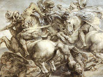 "O copie de fresca lui Leonardo, executate de Rubens.  ""Bătălia de la Anghiari"""