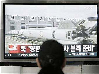 Телетрансляция подготовки к пуску ракеты в Северной Корее. Фото из архива ©AFP