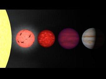 Сравнение размеров и светимости. Солнце, красный карлик, коричневый карлик (L-тип), коричневый карлик (Т-тип, подобный J1047+21), Юпитер. Изображение NASA/IPAC/R. Hurt (SSC)
