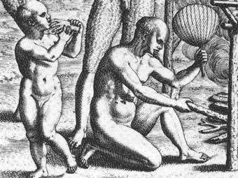 Сцена каннибализма. Гравюра Теодора де Бри, 1562 год