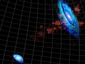 Облака водорода между галактиками в представлении художника. Изображение Bill Saxton/NRAO/AUI/NSF