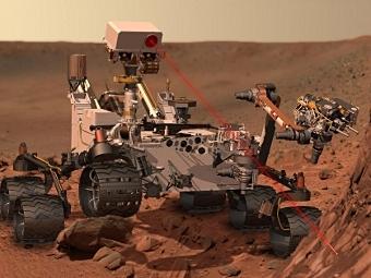"""""""Любопытство"""" определяет химический состав поверхности Марса с помощью лазера и камеры ChemCam. Изображение NASA/JPL-Caltech"""