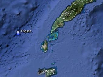 Местонахождение фрегата на Google earth