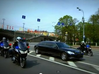 "Автомобиль Путина на церемонии инаугурации. Кадр ""Первого канала"", архив"