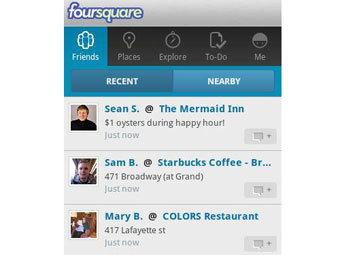 Скриншот приложения Foursquare для смартфонов