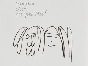 Один из выставленных рисунков Джона Леннона. Изображение ©AP