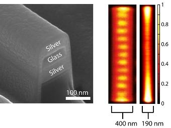 Микрофотография волновода и распостранения в нем света c длиной волны 400 и 190 нанометров. Иллюстрация AMOLF/University of Pennsylvania