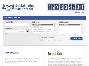 Сервис поиска работы в Facebook
