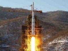 """Запуск ракеты """"Ынха-3"""". Фото KCNA, переданное (c)AFP"""