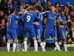 """Футболисты """"Челси"""" празднуют гол в ворота """"Астон Виллы"""". Фото ©AFP"""