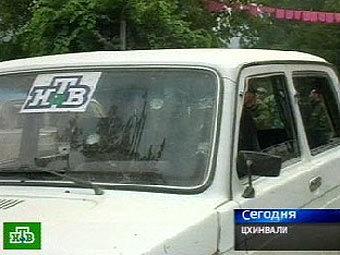 Автомобиль съемочной группы НТВ в Цхинвали. Кадр телекомпании НТВ