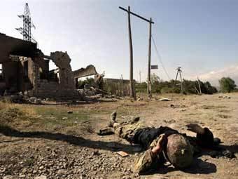 Погибший грузинский солдат в Цхинвали. Фото AFP