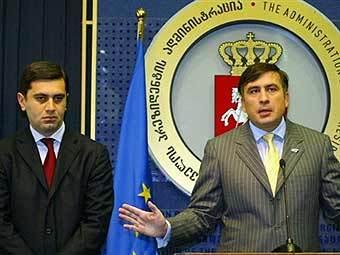 Ираклий Окруашвили и Михаил Саакашвили. Фото из архива AFP.