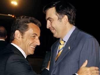 Николя Саркози и Михаил Саакашвили в Тбилиси. Фото AFP
