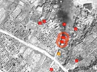 Сожженные дома в грузинском анклаве на спутниковом снимке из доклада HRW